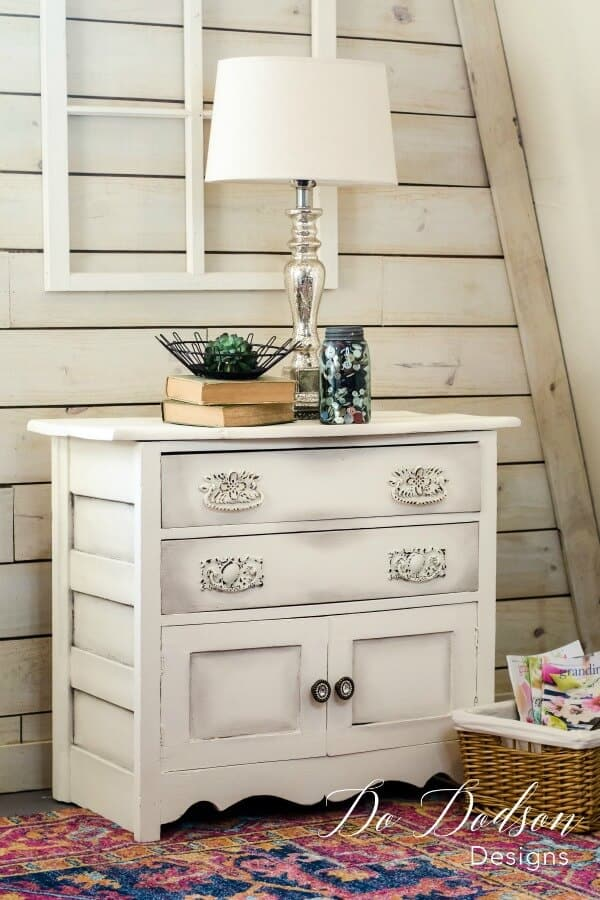 Purposely weathered vintage style furniture upcycling