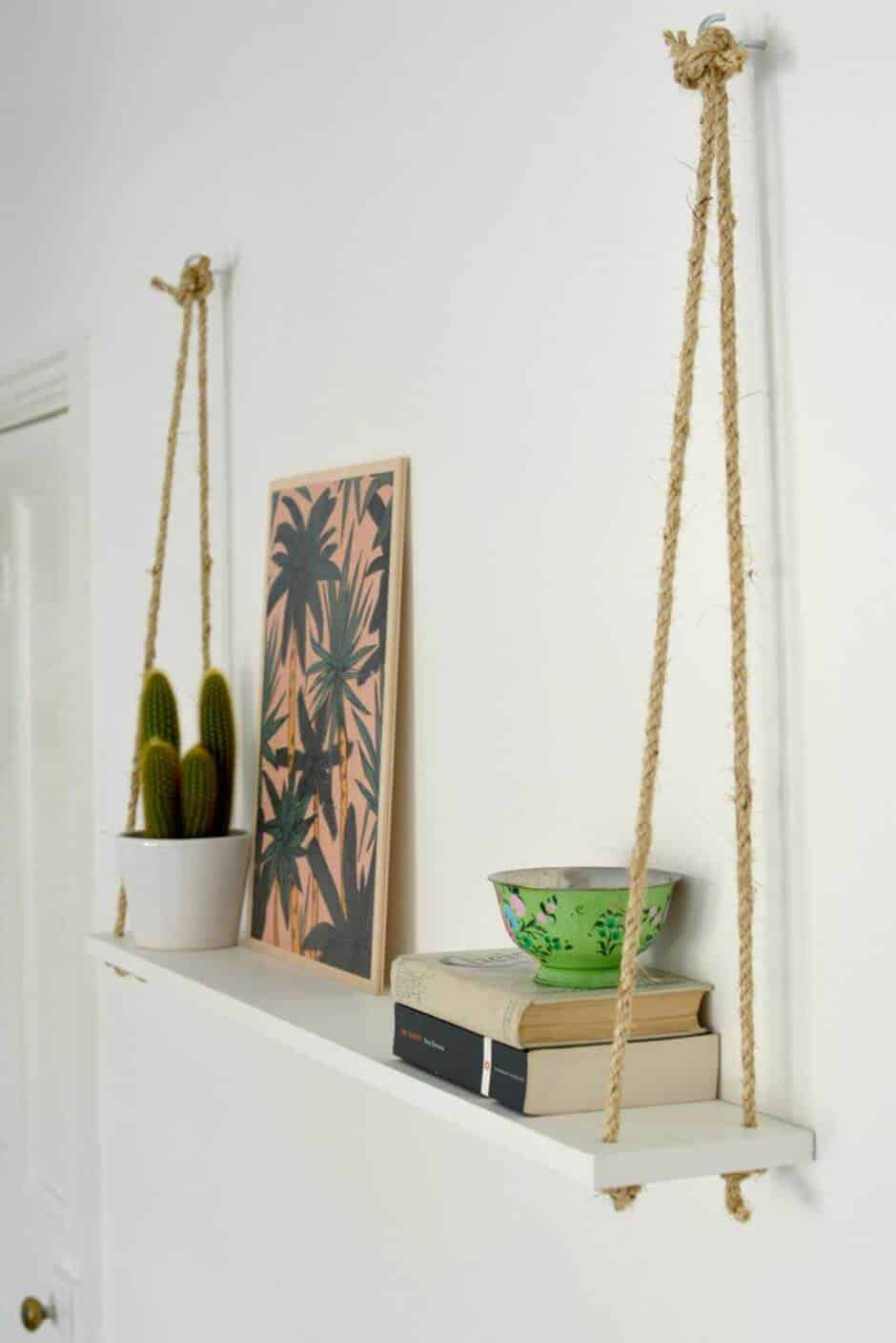 Rope and wooden bored floating wall shelf