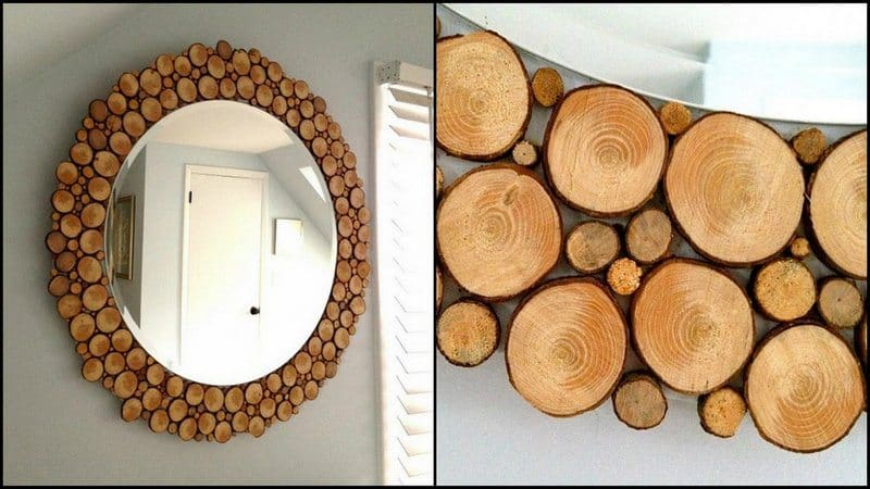 Rounded wood slice mirror