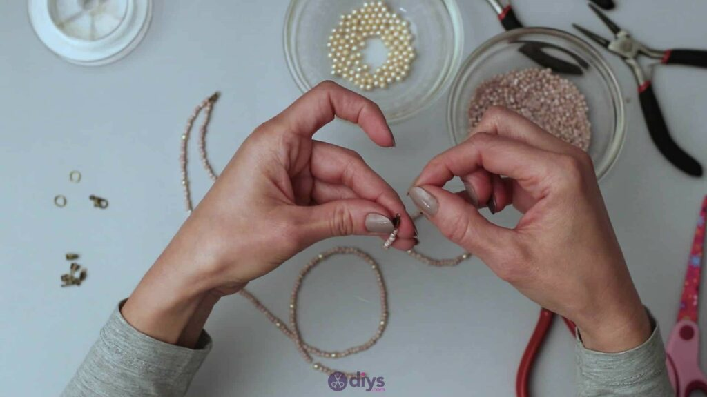 Seed bead multi strand necklace step 3g