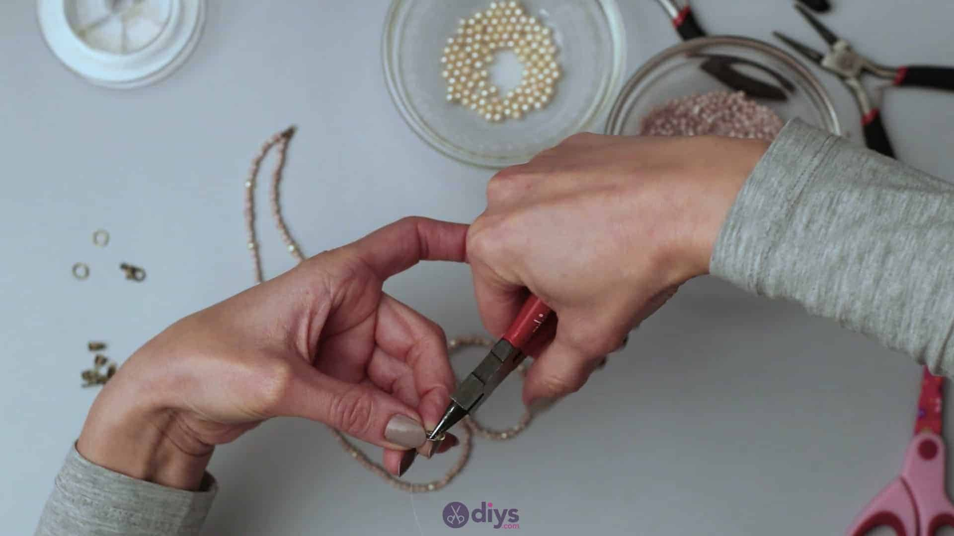 Seed bead multi strand necklace step 3i