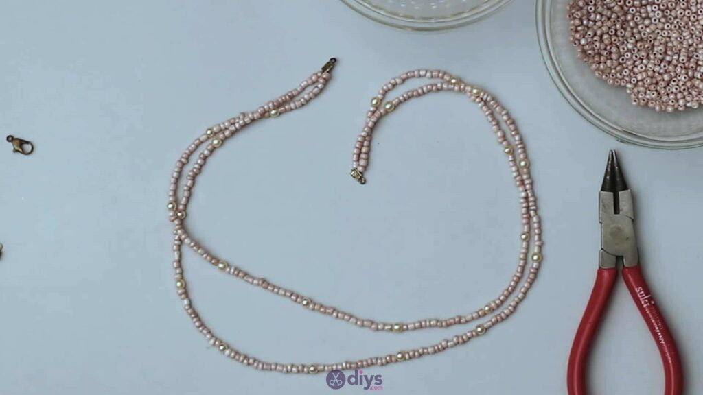 Seed bead multi strand necklace step 3k