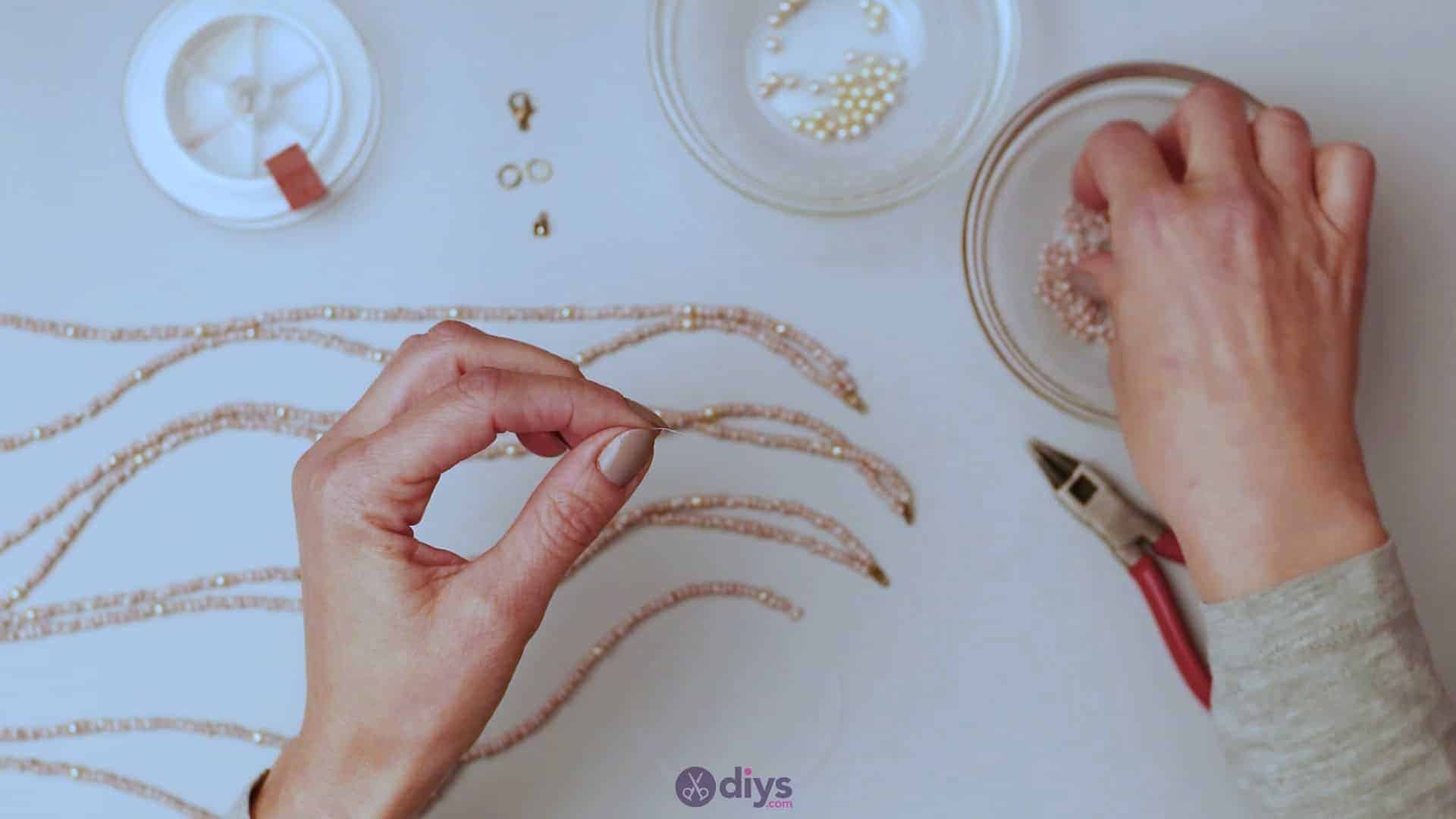 Seed bead multi strand necklace step 4d