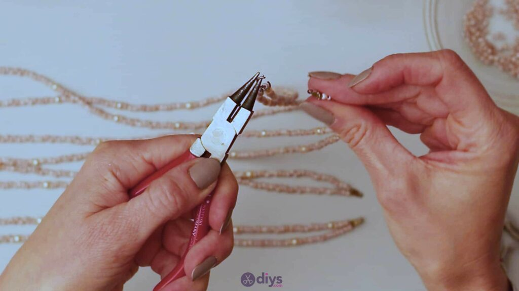 Seed bead multi strand necklace step 5c