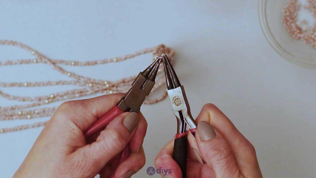Seed bead multi strand necklace step 5e
