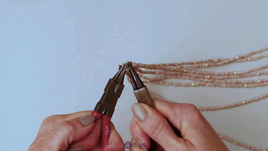 Seed bead multi strand necklace step 6d