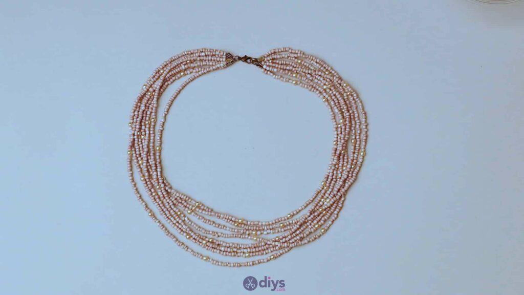 Seed bead multi strand necklace step 6e