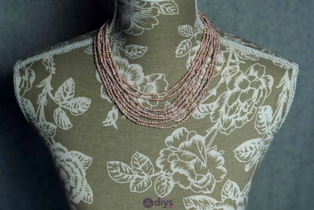 Seed bead multi strand necklace step 6g