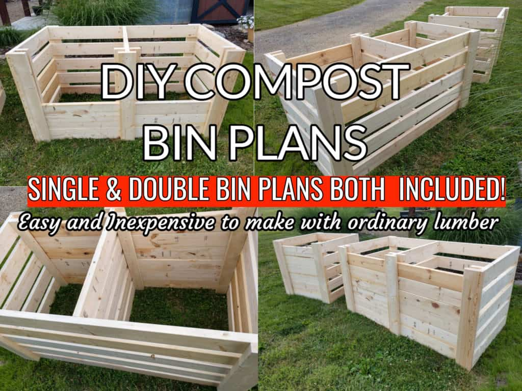 Single and double lumber compost bins
