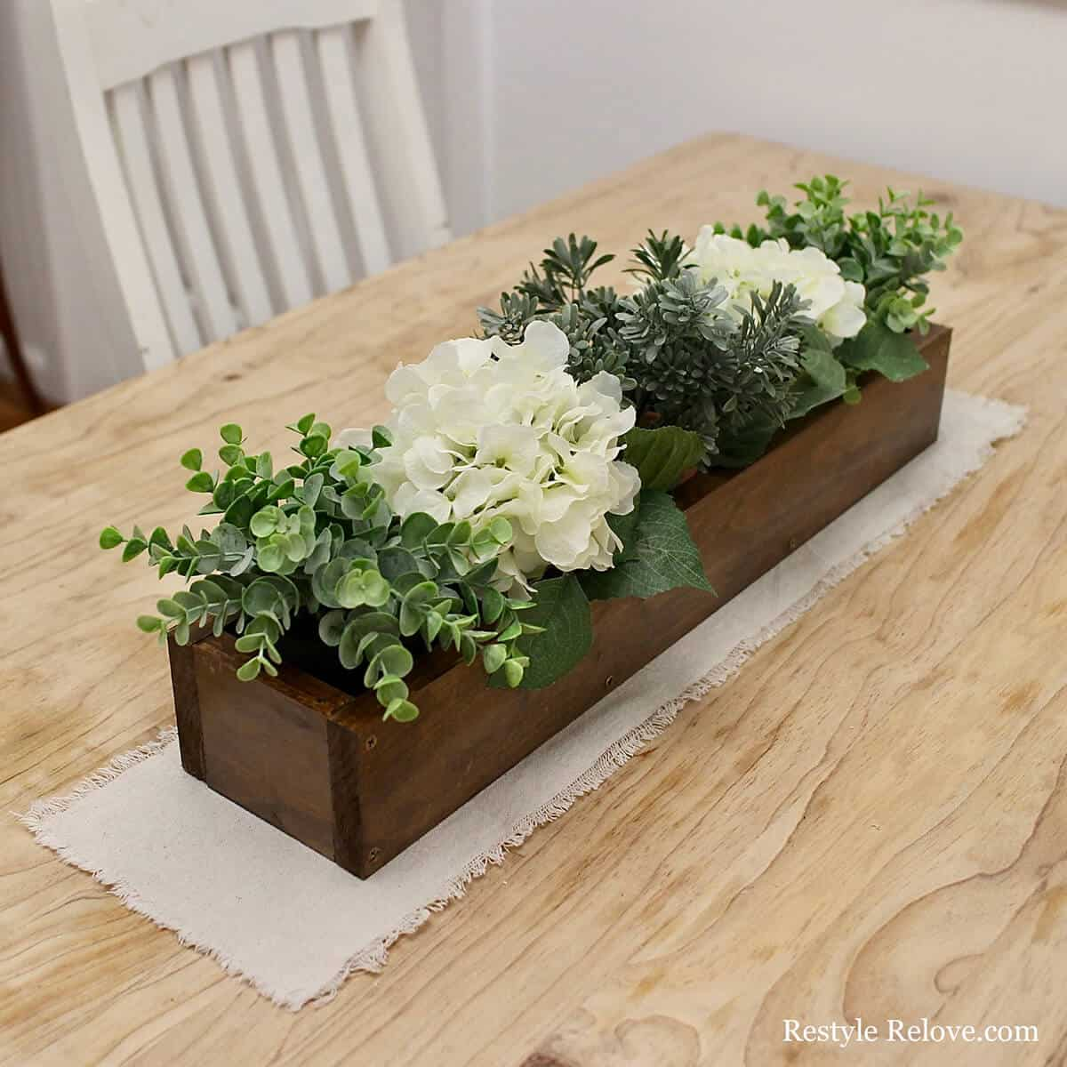 Stained wood flower planter centrepiece
