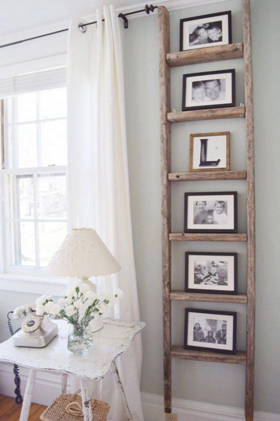 Vertical ladder photo frame display