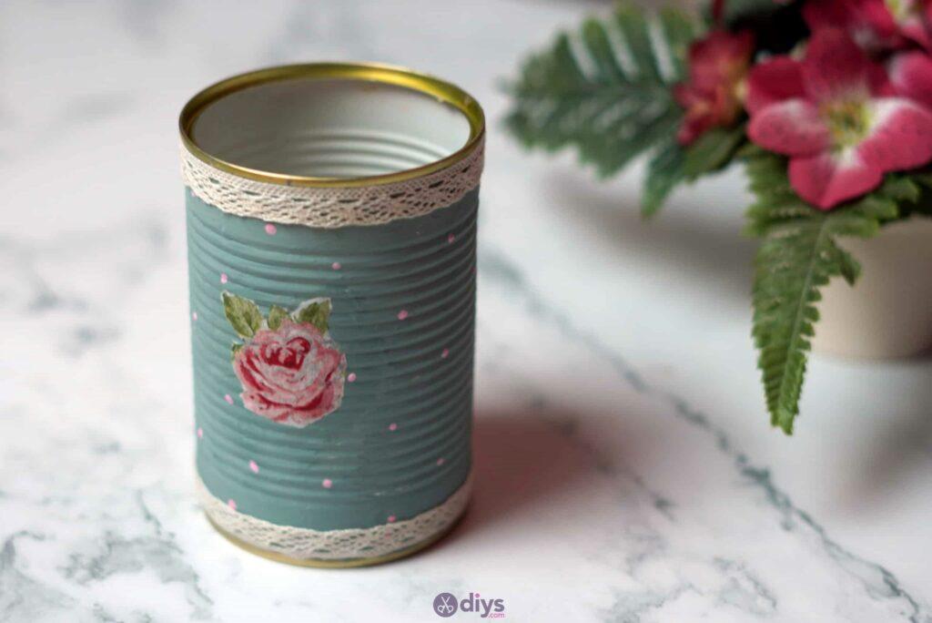 Vintage rose tin can repurpose