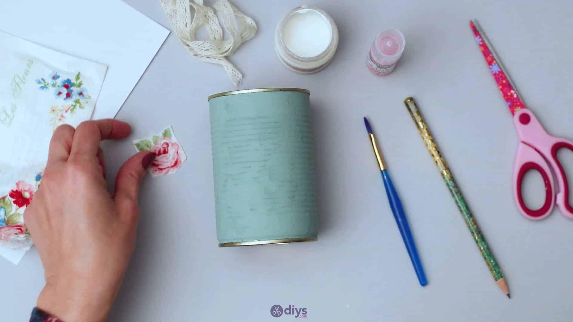 Vintage rose tin can step 4