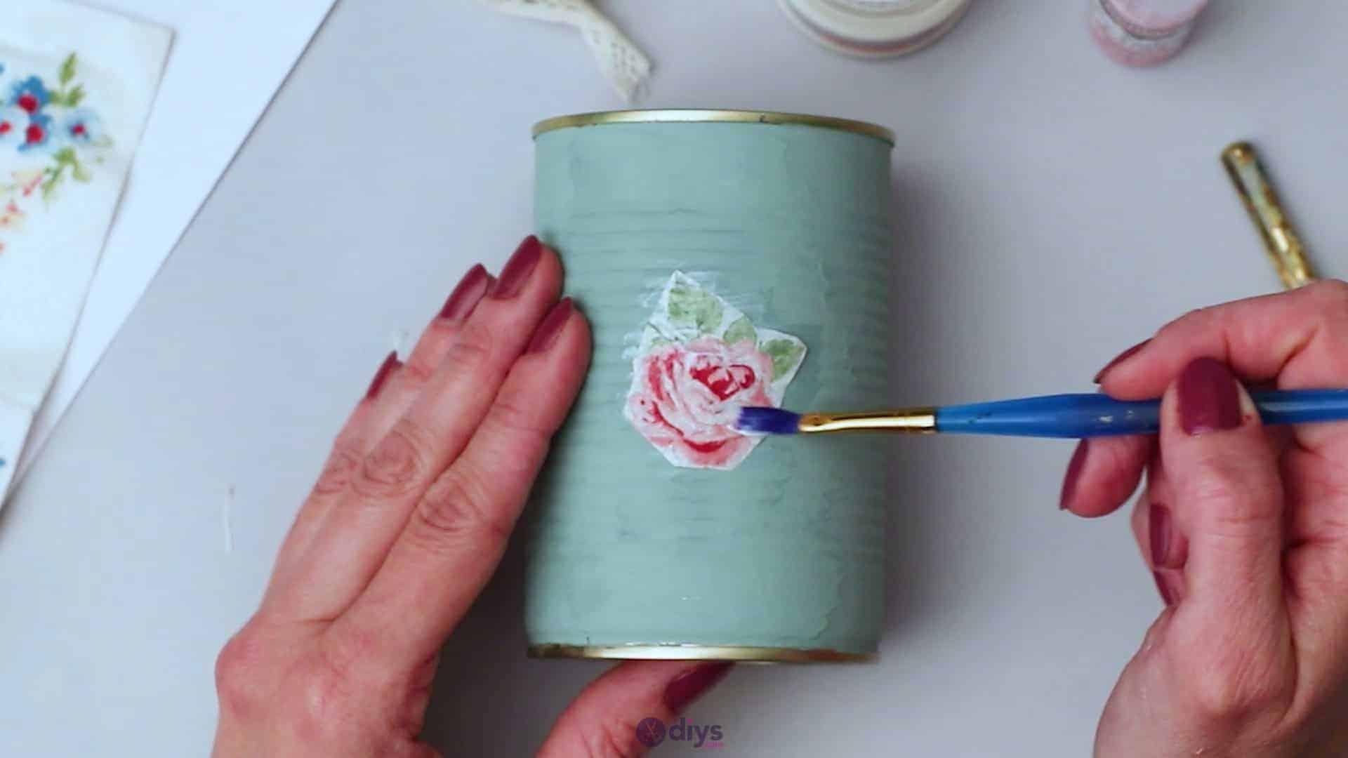Vintage rose tin can step 4c