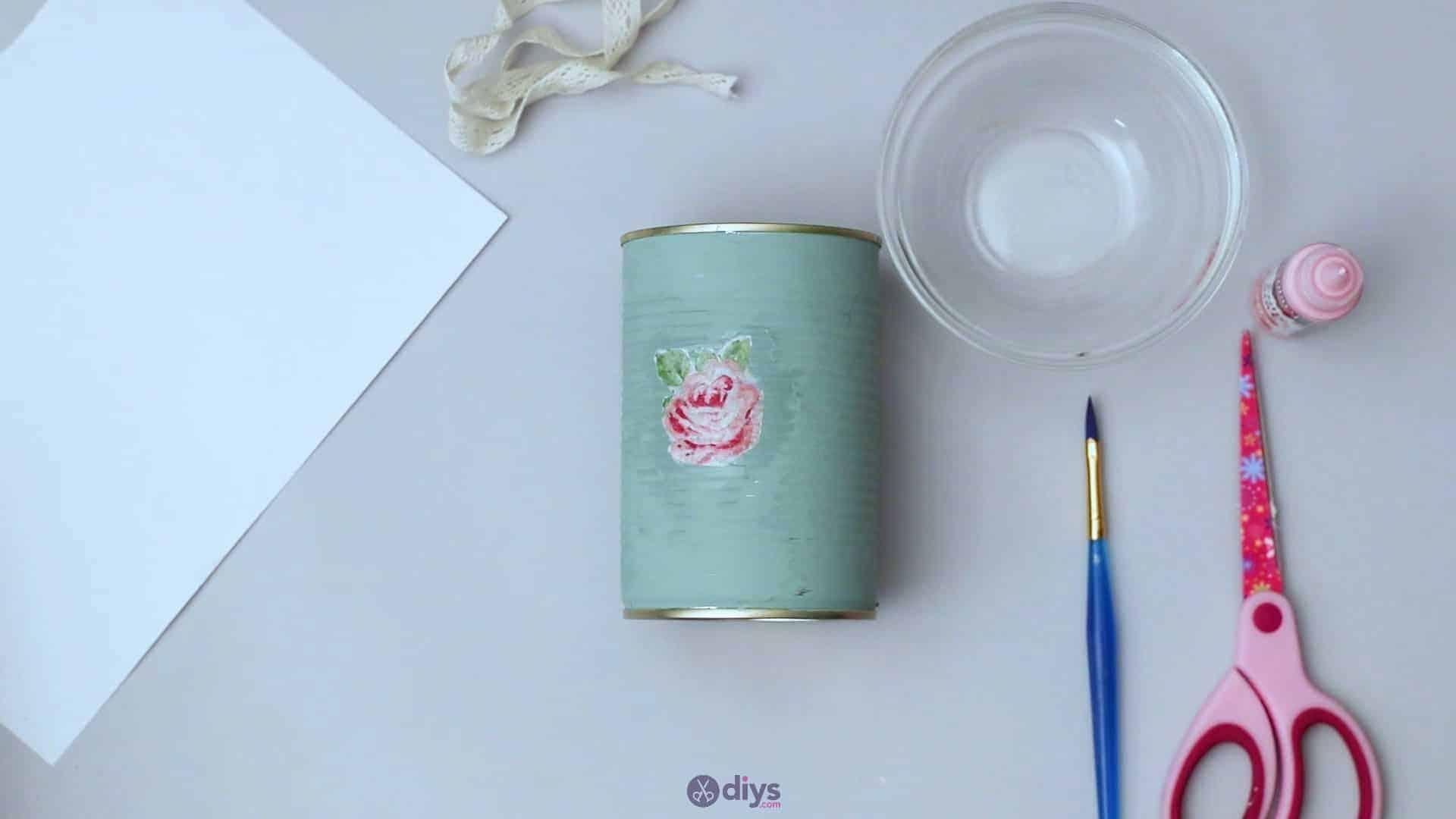 Vintage rose tin can step 4d