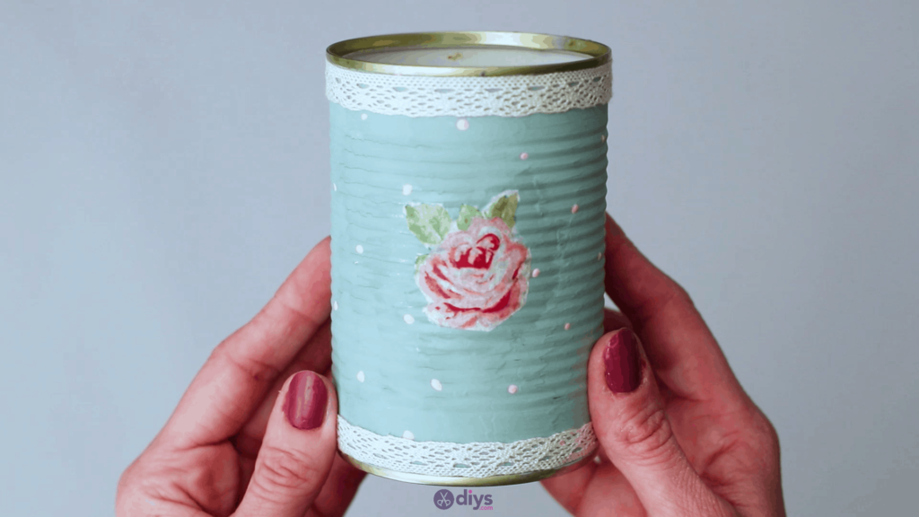 Vintage rose tin can step 7g