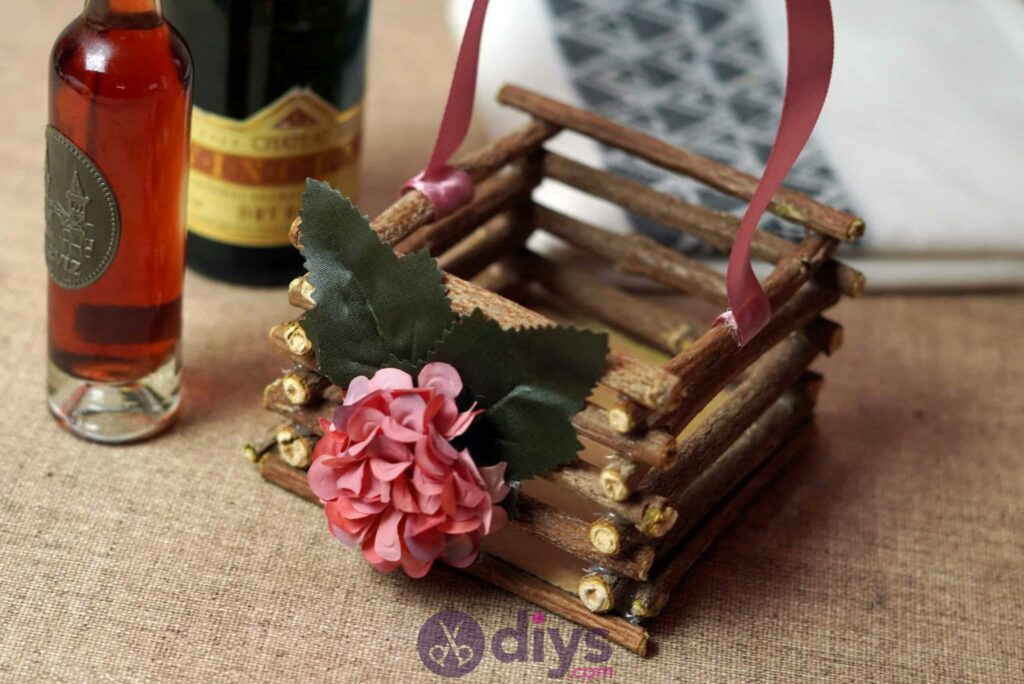 Wood basket made from twigs simple diy
