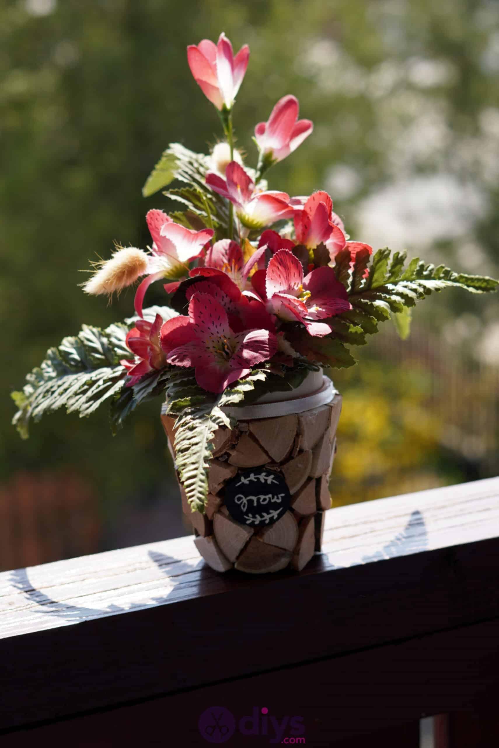 Wood slice plastic planter update diy