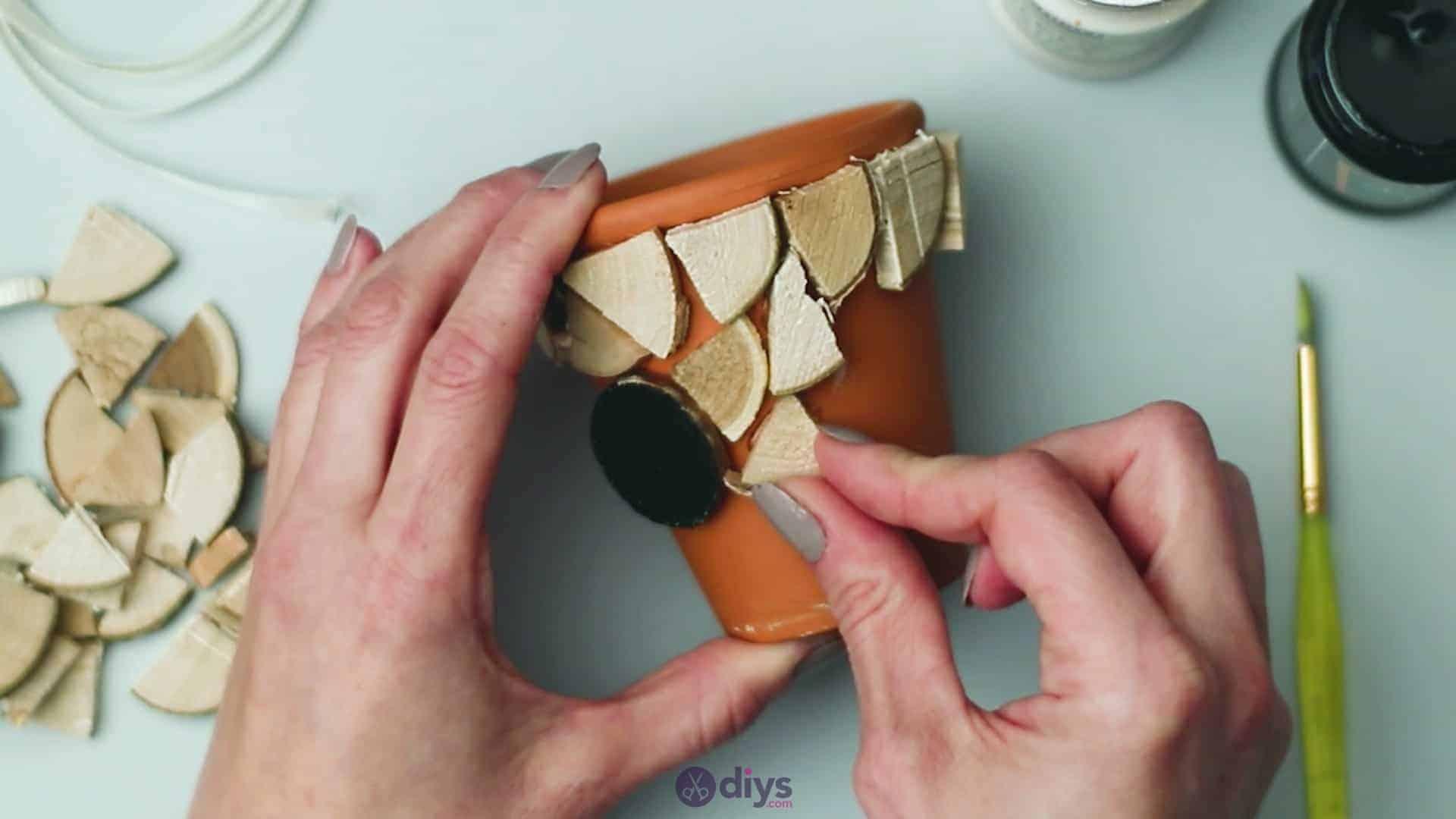 Wood slice plastic planter update step 5c