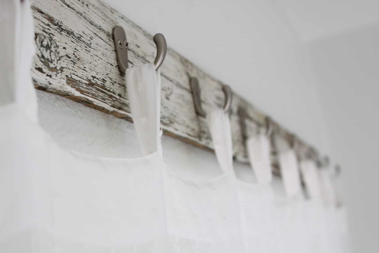 Wooden coat rack curtain hooks