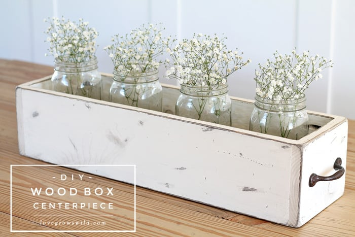 Wooden drawer and mason jar floral centrepiece
