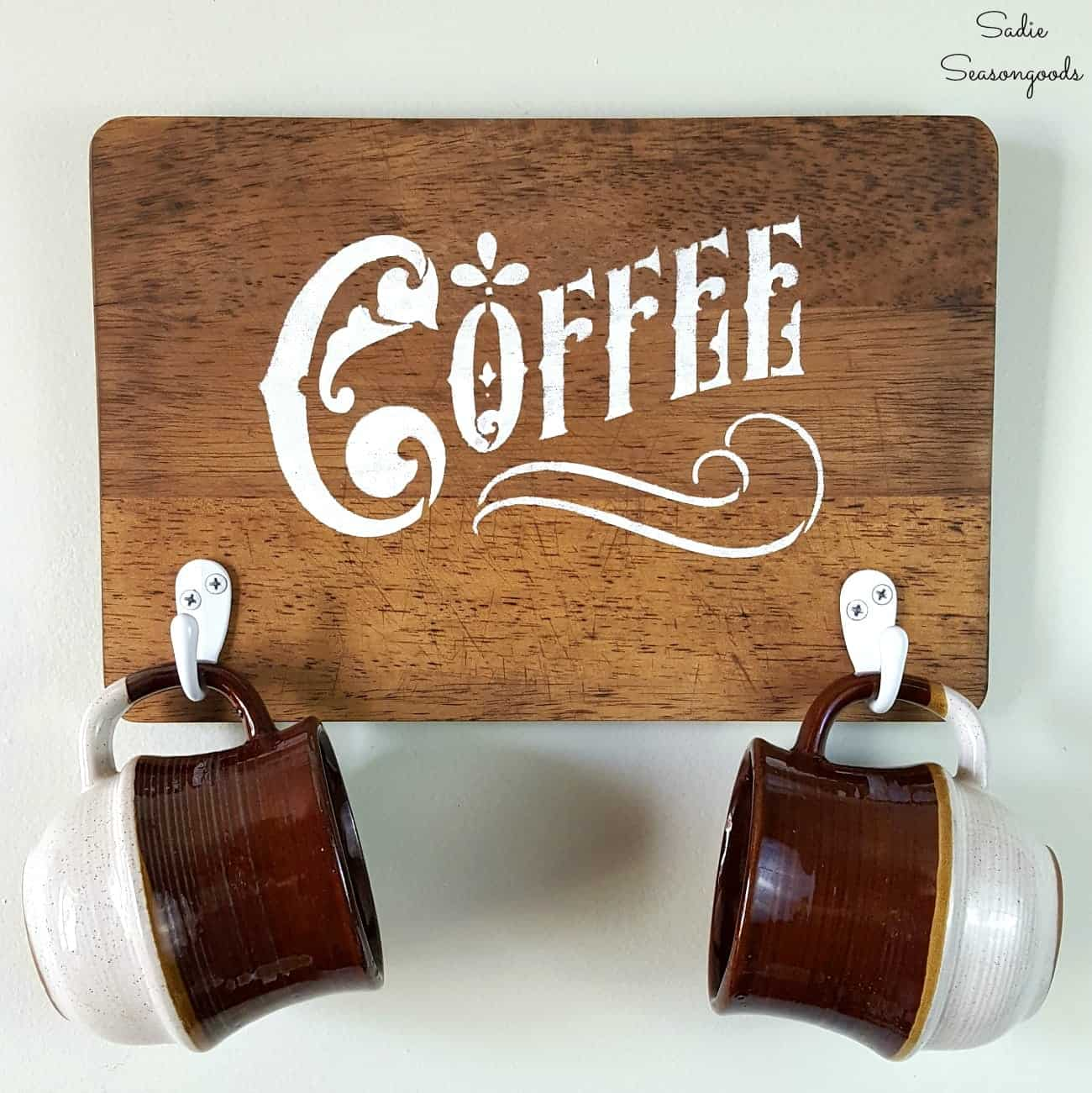 Wooden painted coffee mug sign