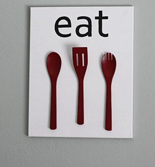 Wooden spoon wall art