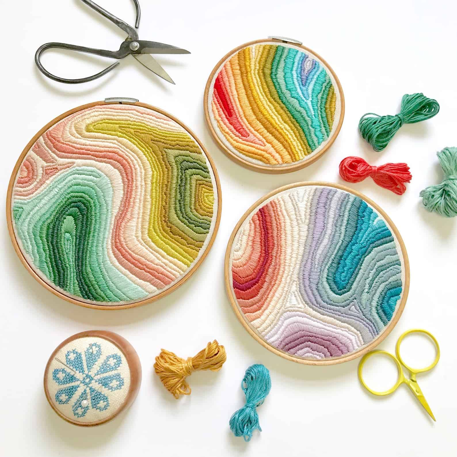 Colorful marble embroidery