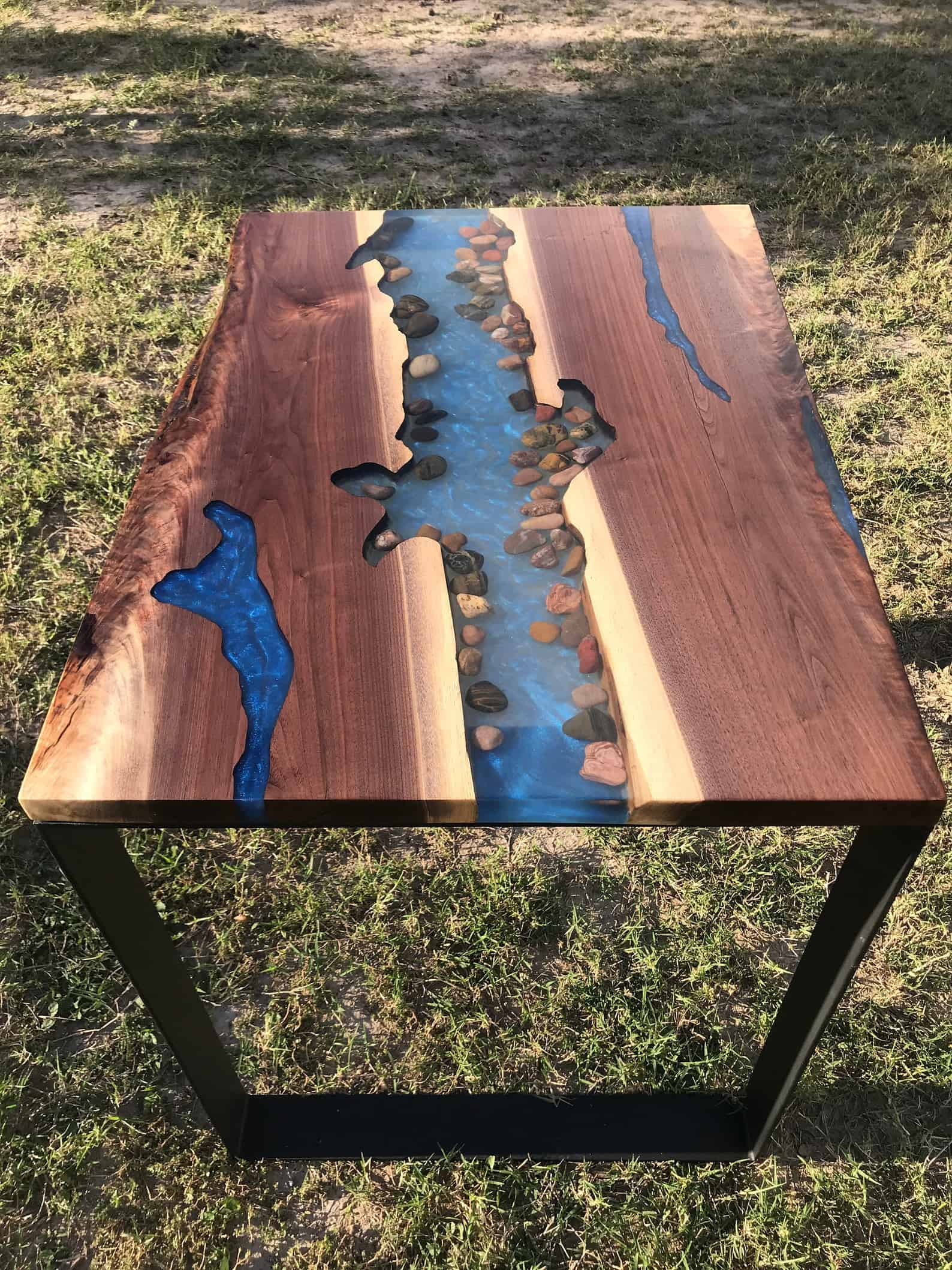 Live edge river table with stones