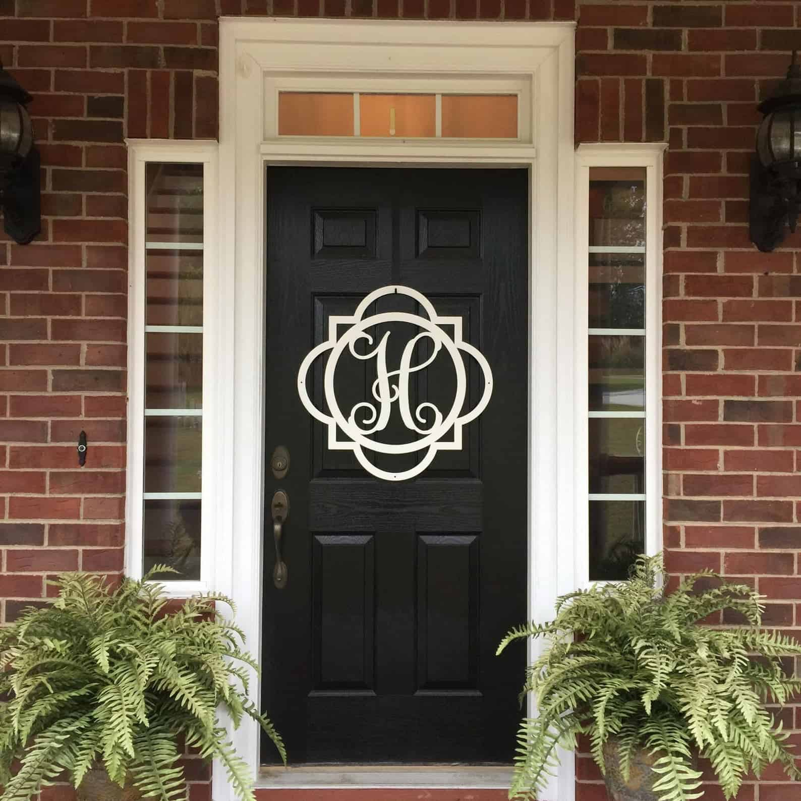 Monogrammed metal wreath