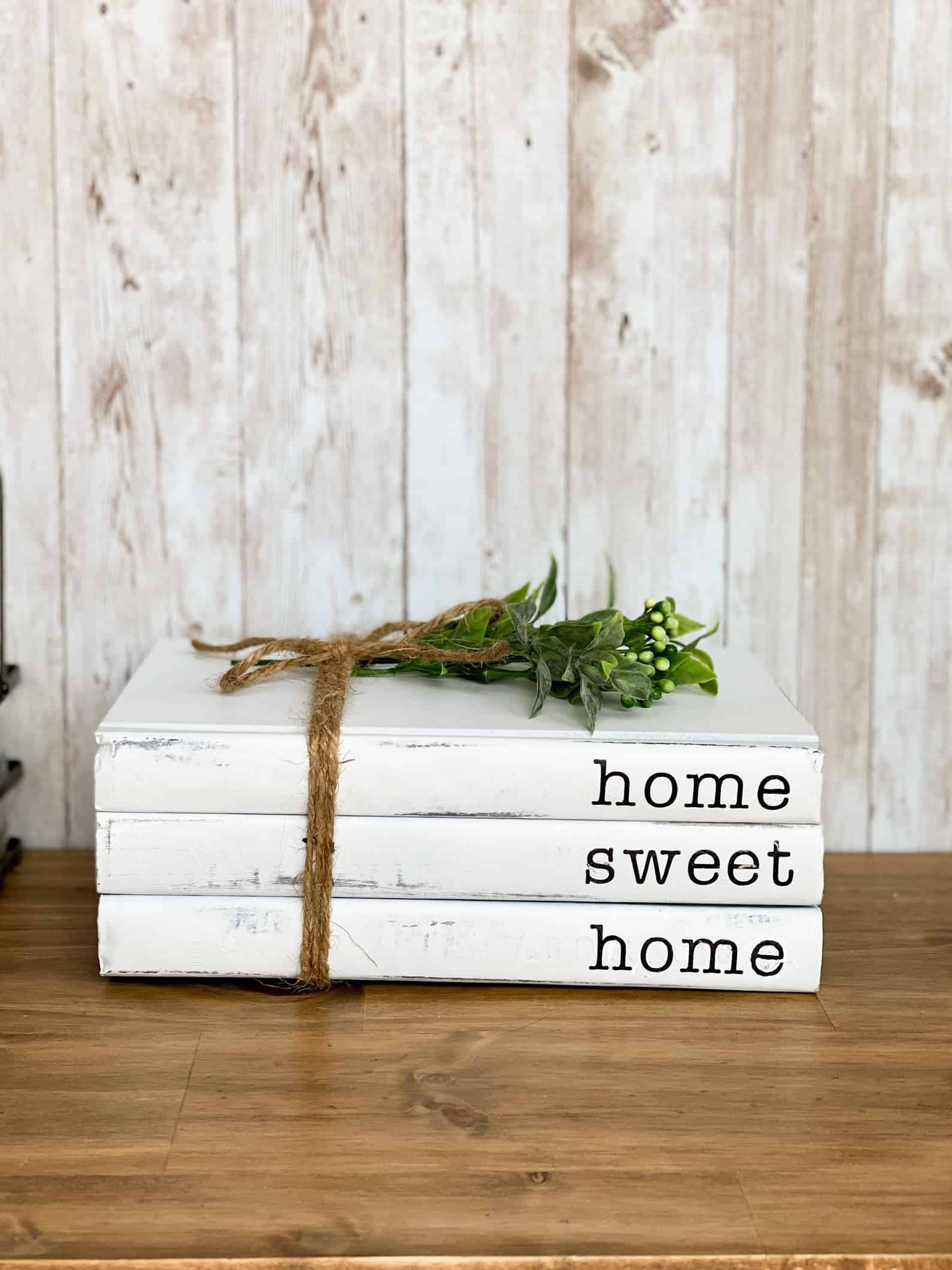 Personalized farmhouse book stack