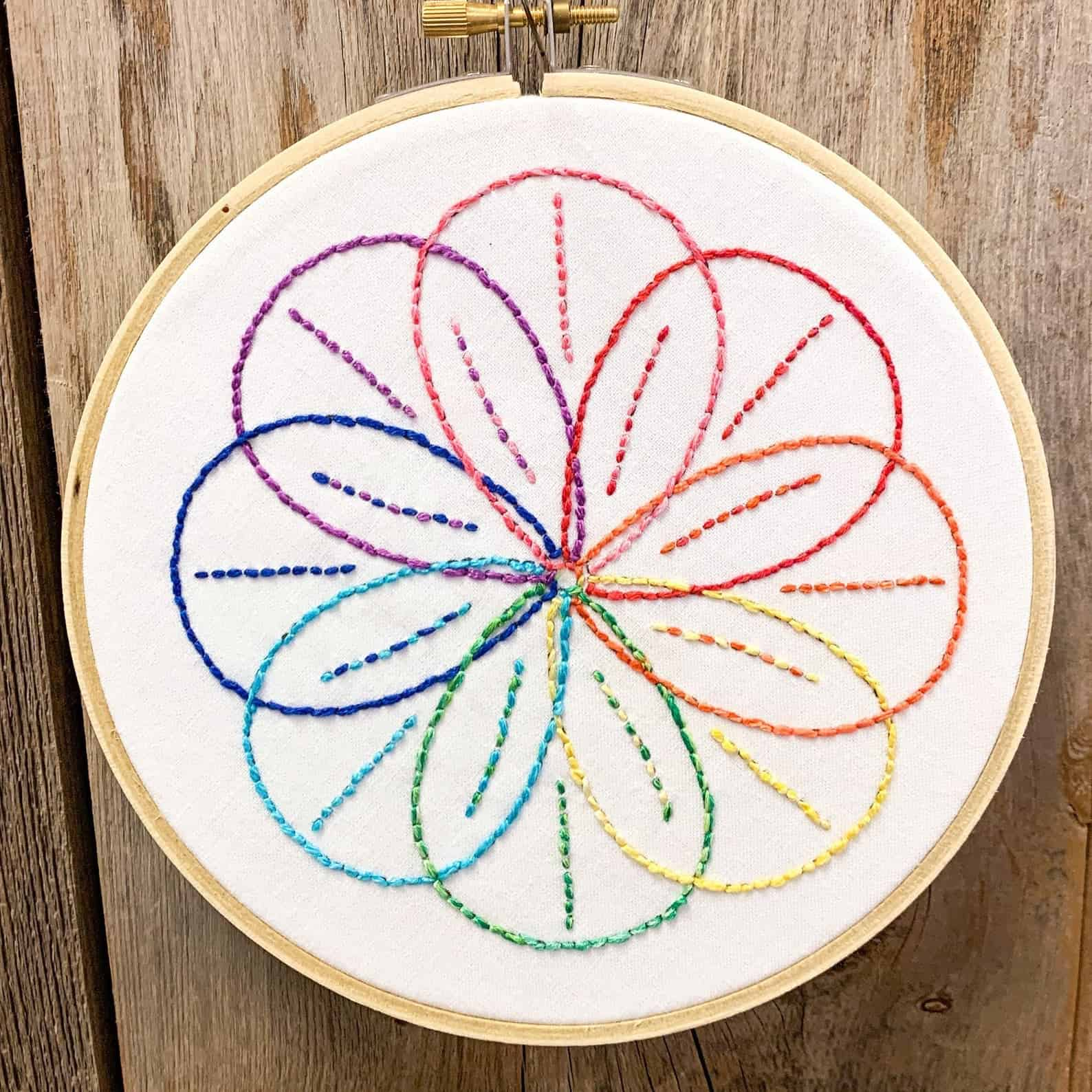 Rainbow spiral embroidery
