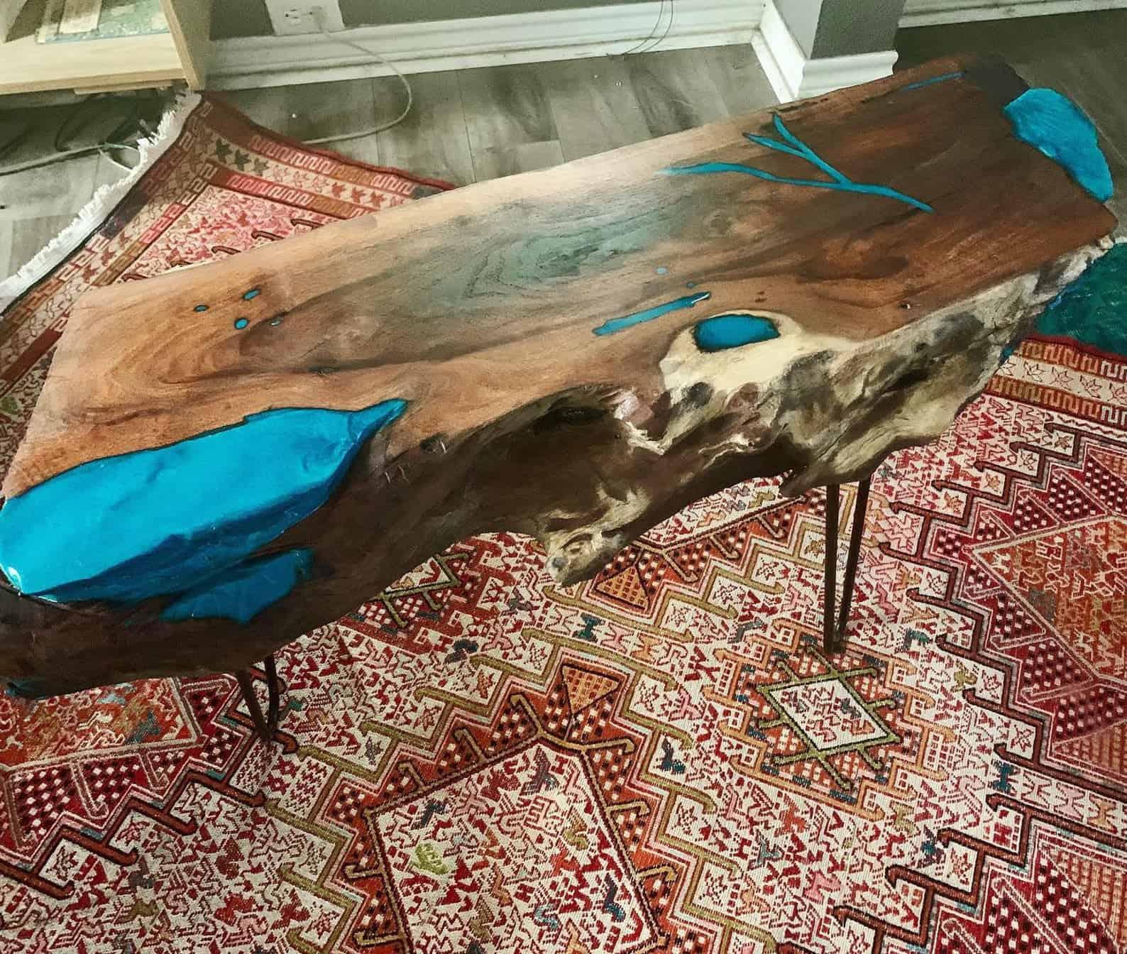 Resin river mesquite burl table