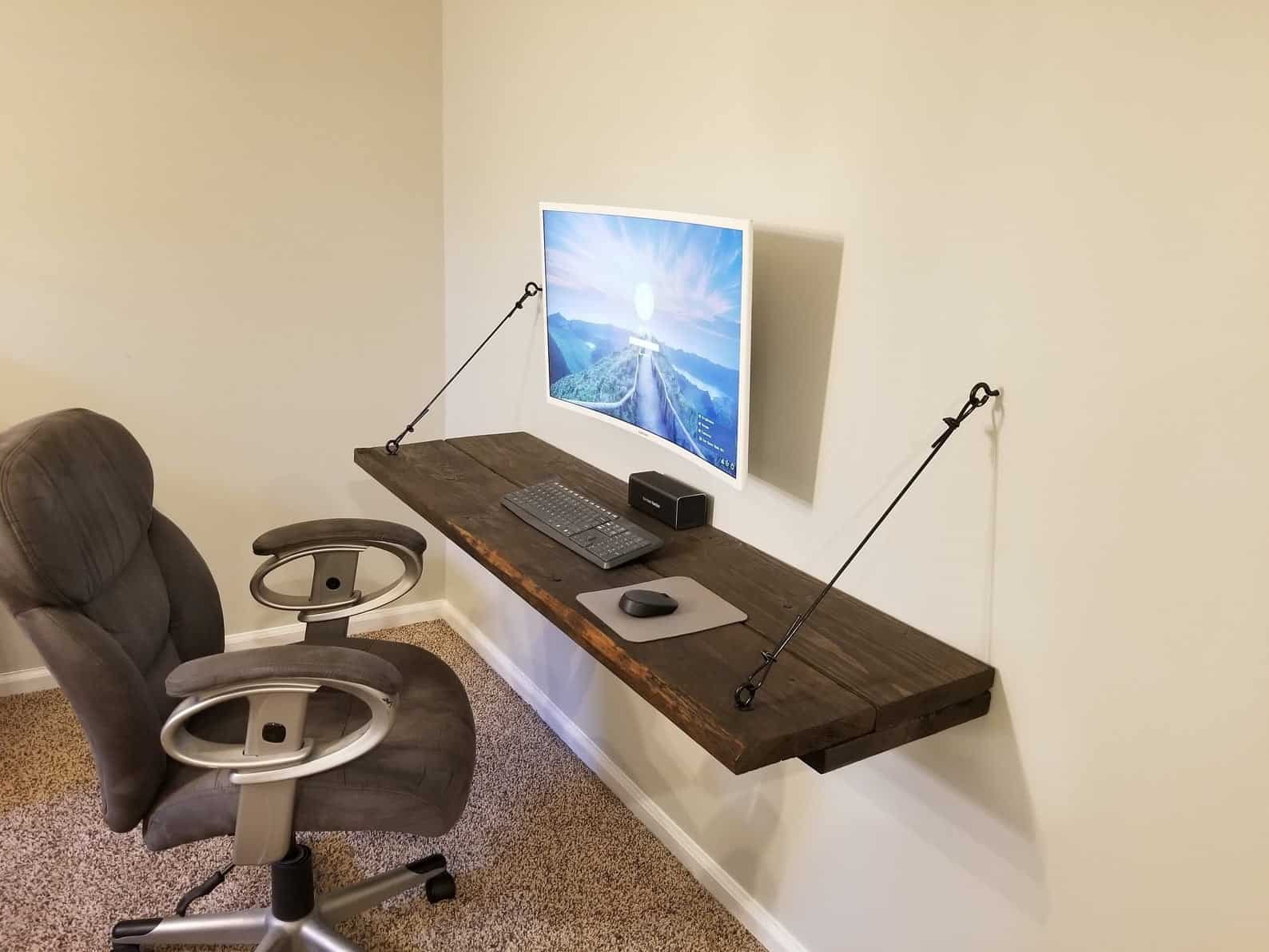 Rustic floating desk