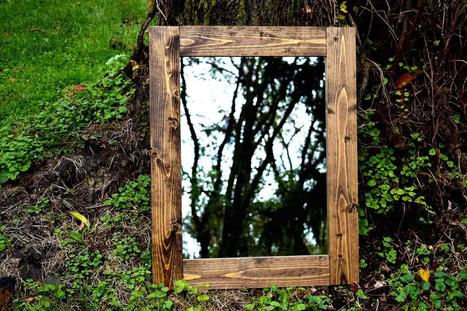 Rustic framed mirror