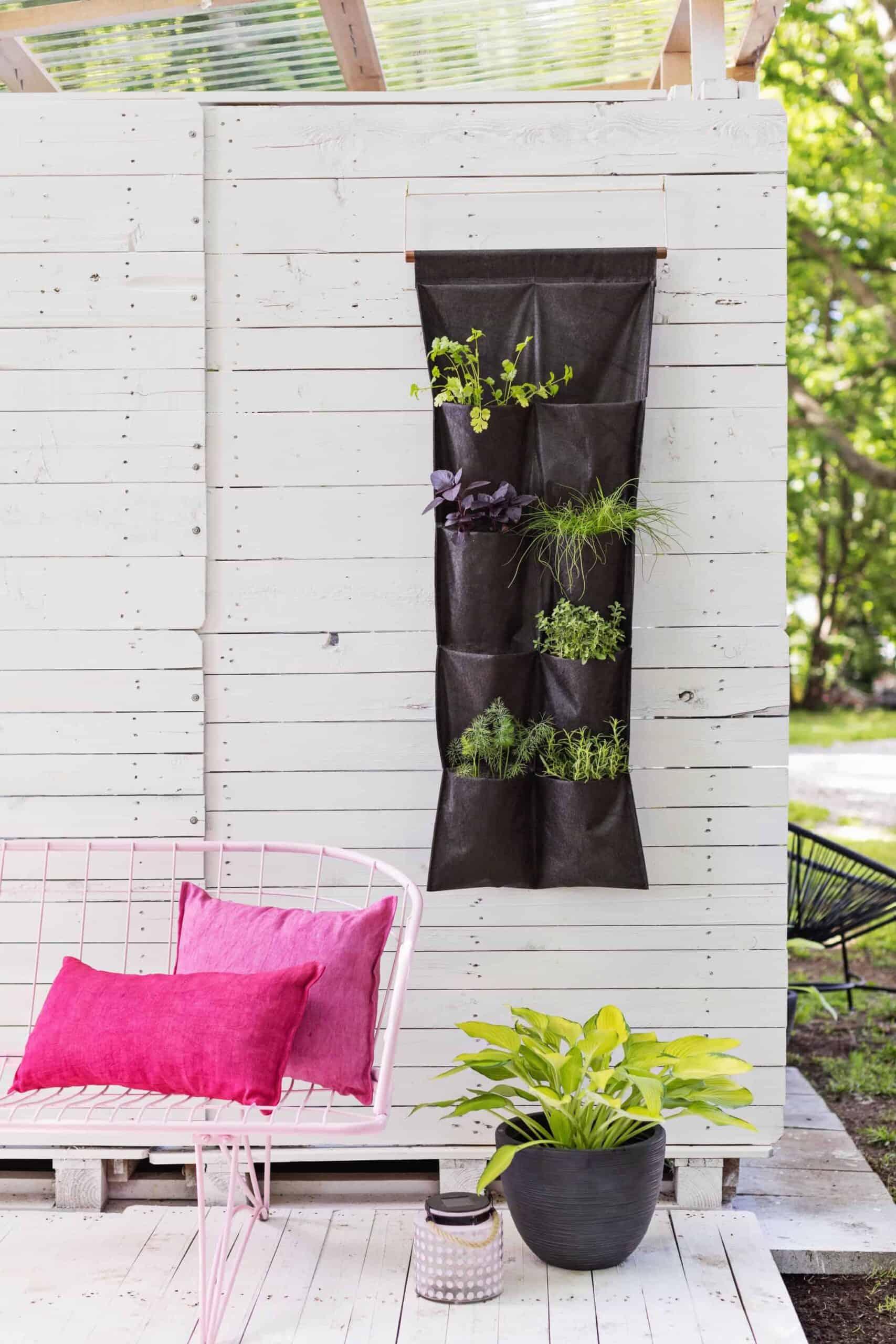 Vertical herb garden in pockets