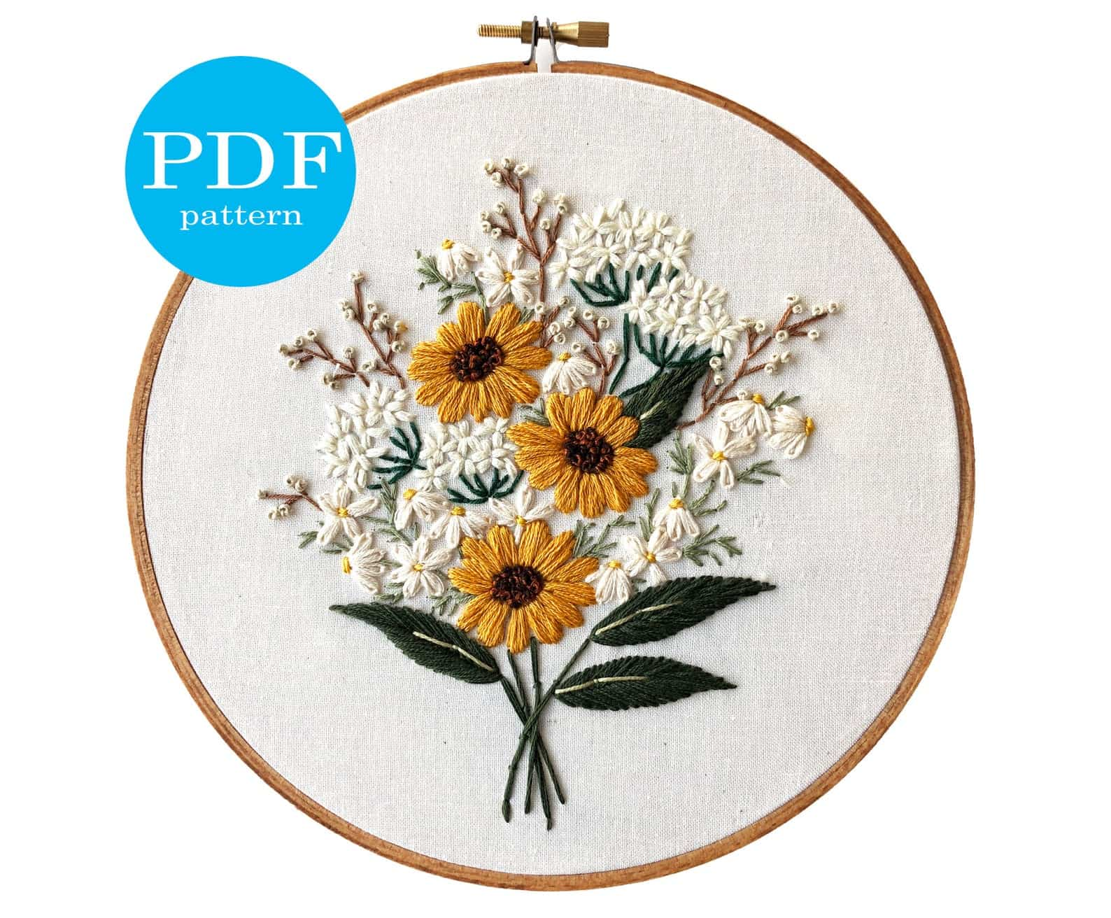 Embroidery pattern with wild flower bouquets