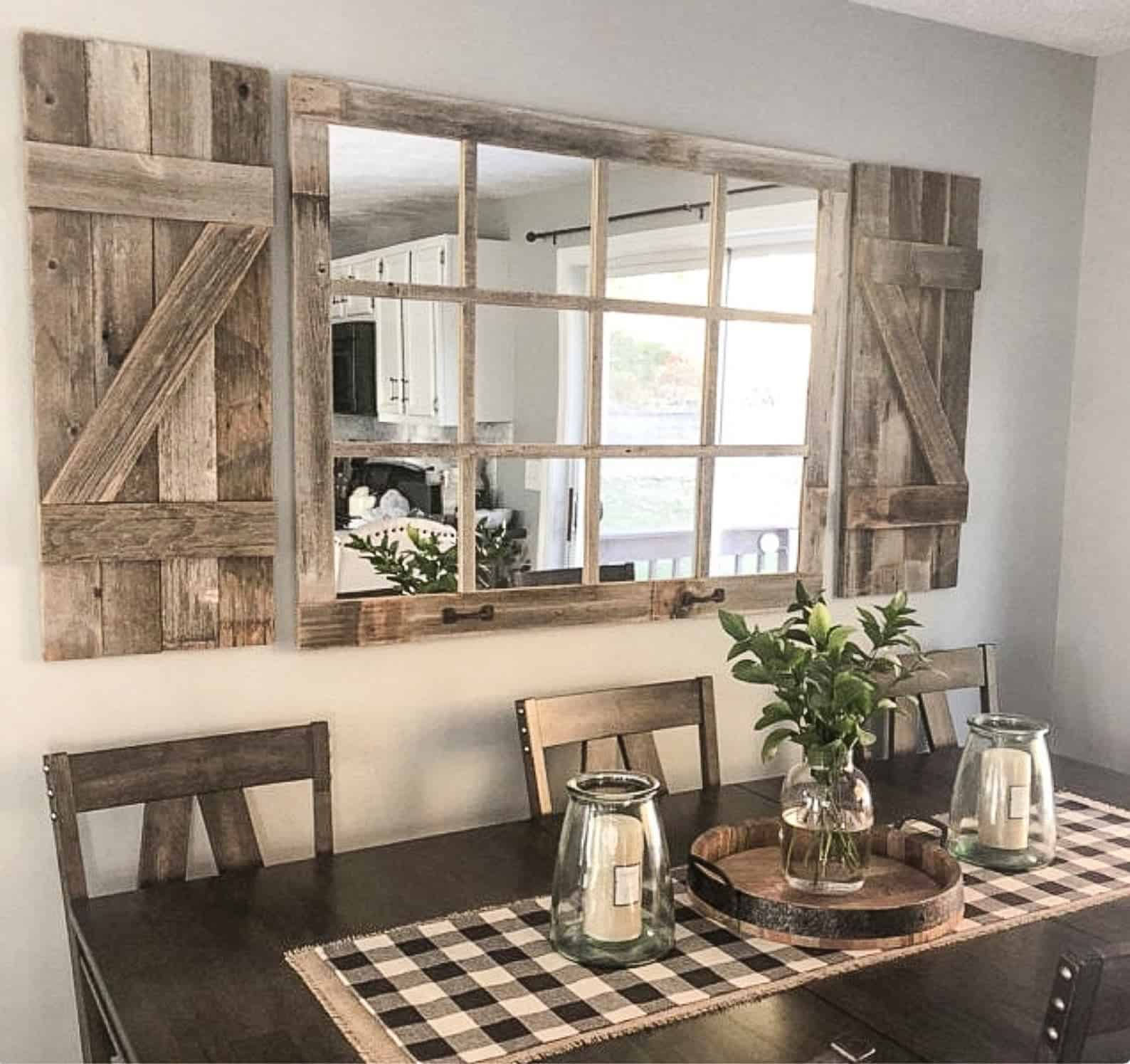 Window mirror rustic