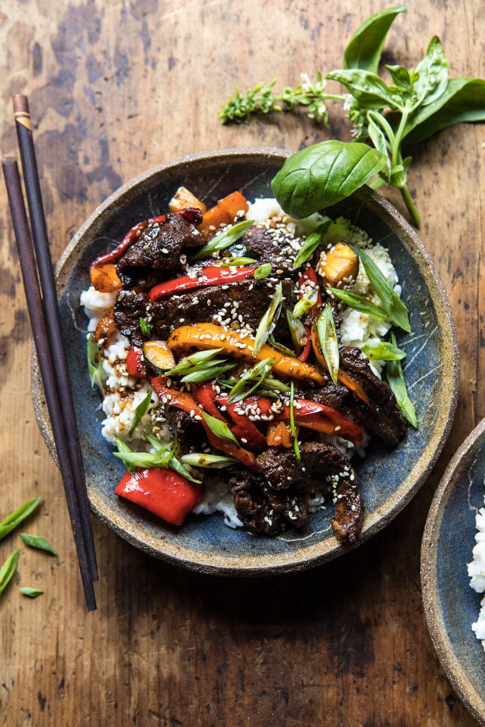 30 minute korean beef peppers with sesame rice