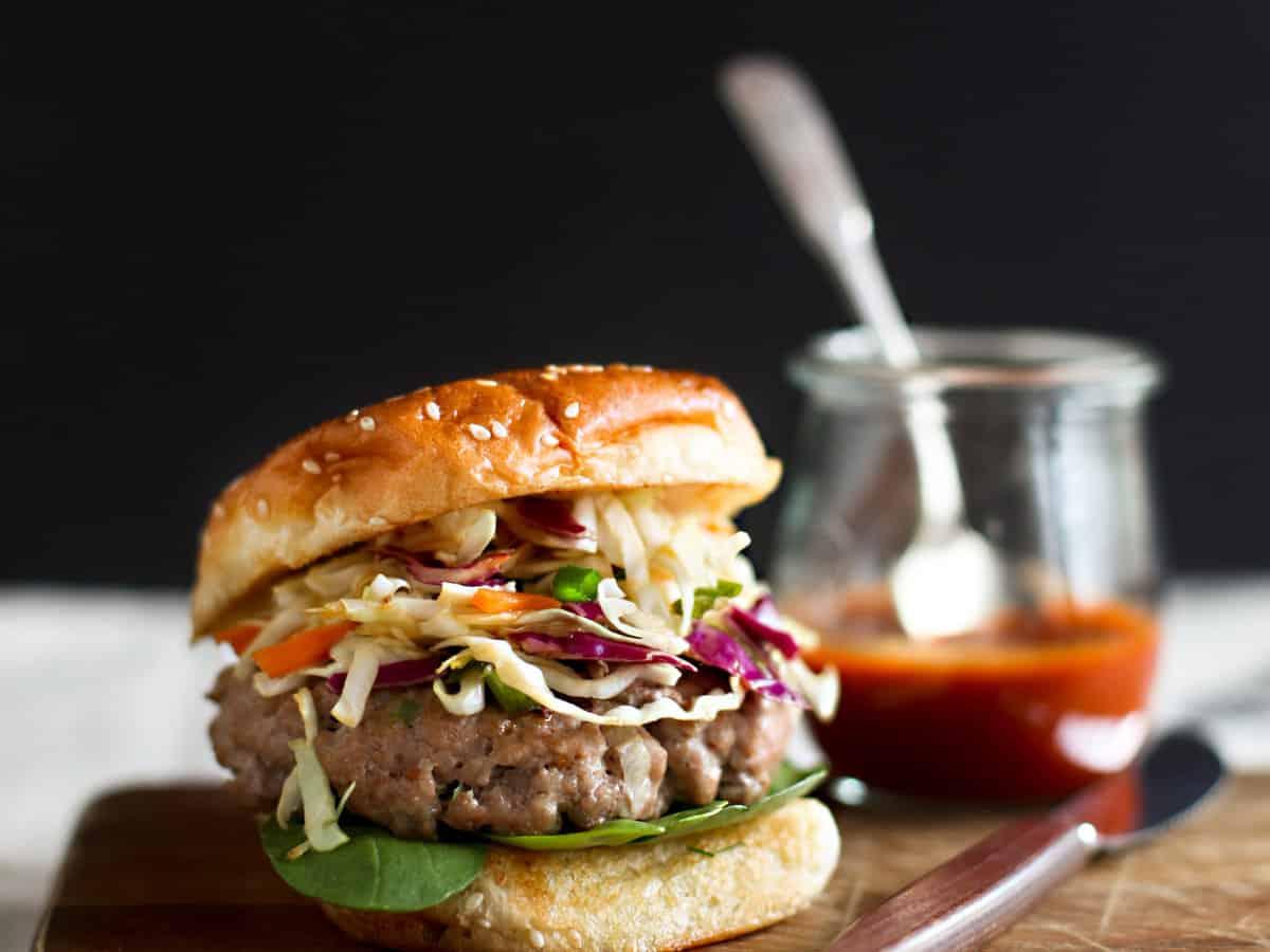 Asian style pork burgers