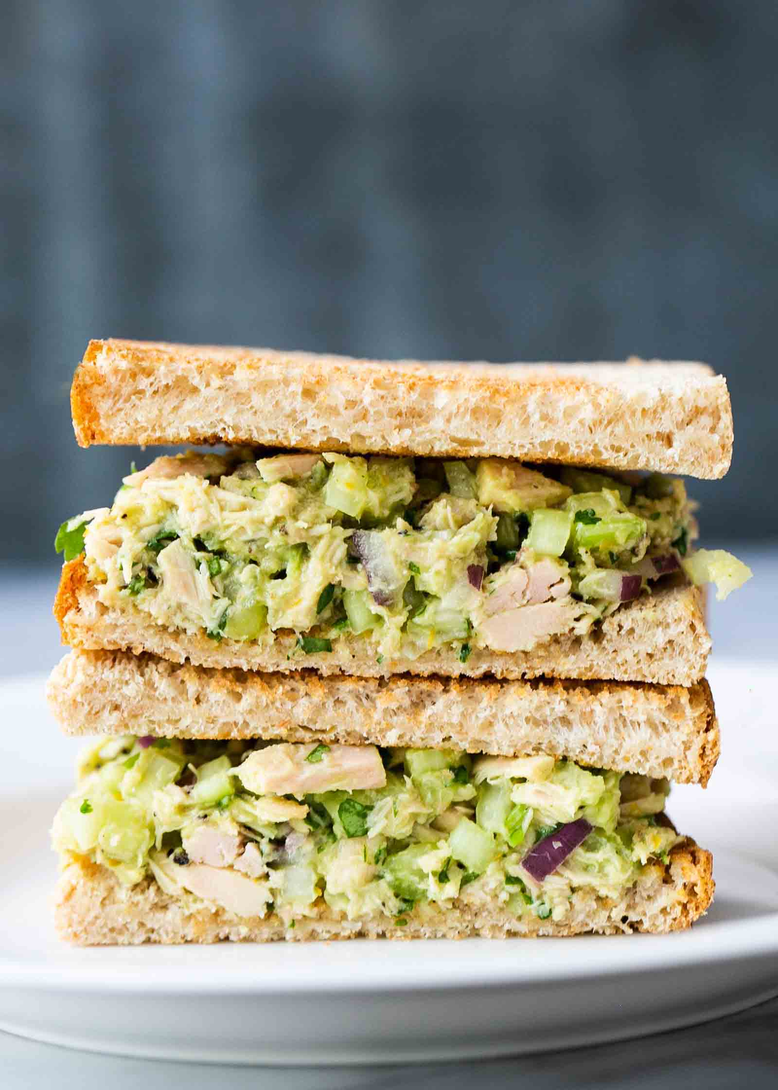 Avocado tuna salad sandwiches