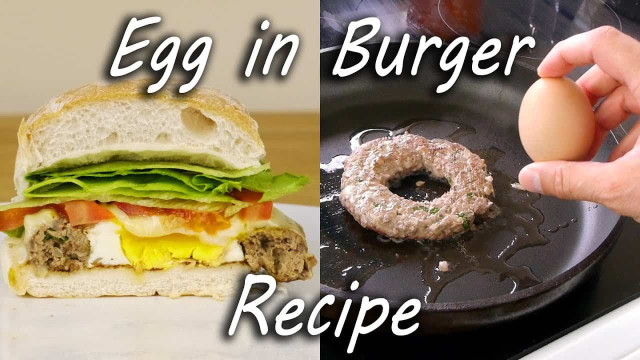 Beef burger egg in the hole