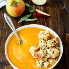 Butternut squash and apple soup with cheddar croutons
