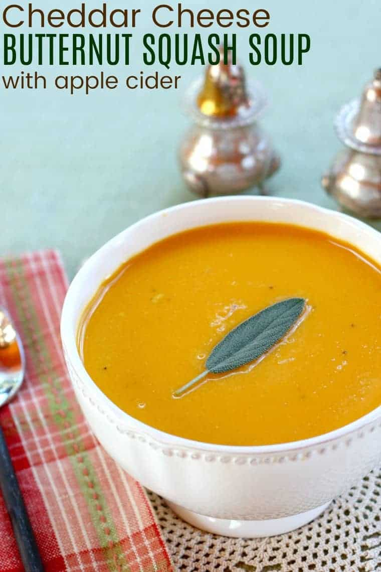 Cheddar cheese butternut squash soup with apple cider