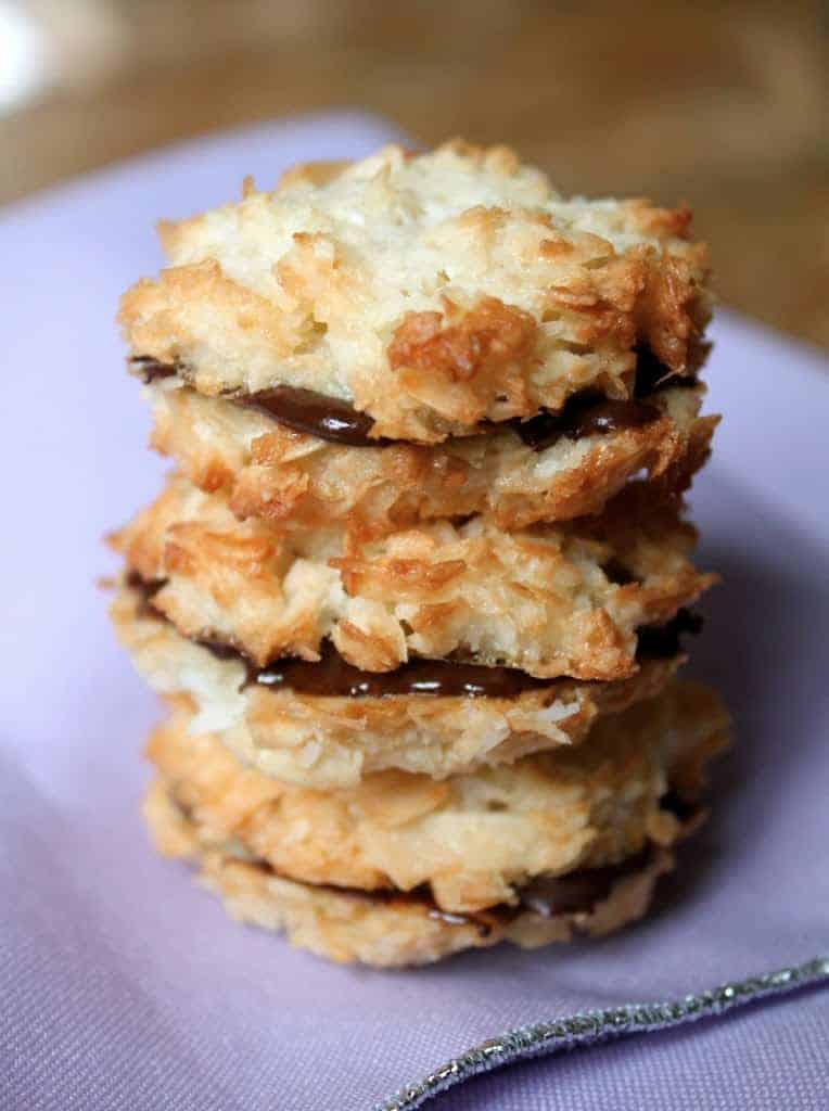 Chocolate filled coconut macaroon sandwiches