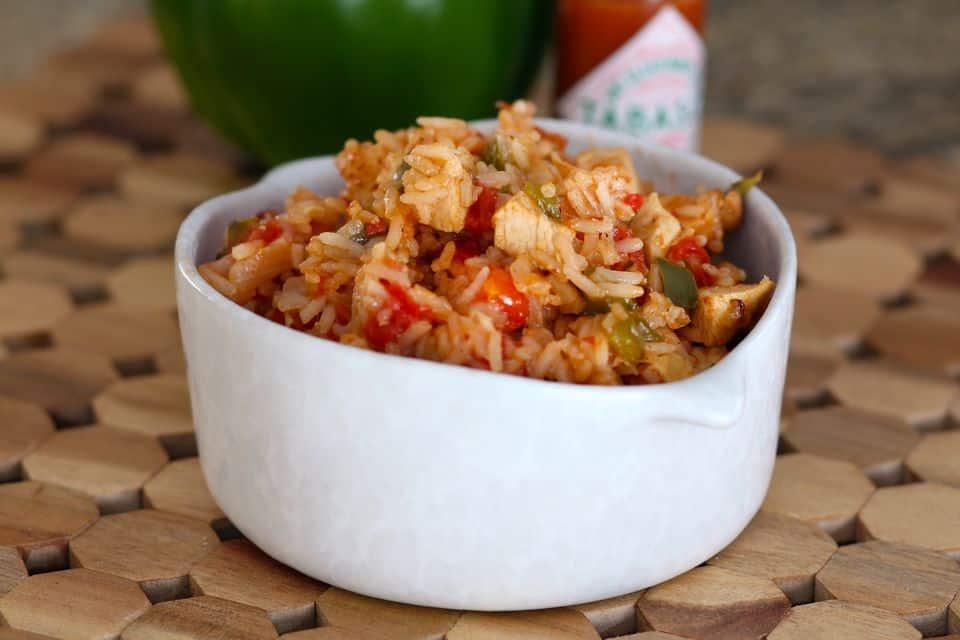 Classic chicken and shrimp jambalaya with smoked sausaage