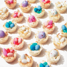 Cute coconut macaroon nests