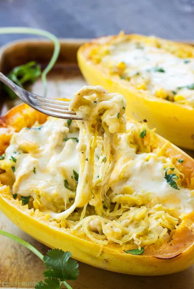 Green chile chicken anchilada stuffed spaghetti squash