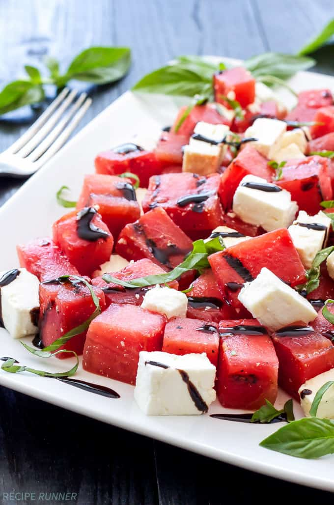 Grilled watermelon, feta, and basil salad