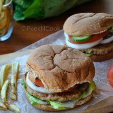 Homemade indian syle chicken burgers